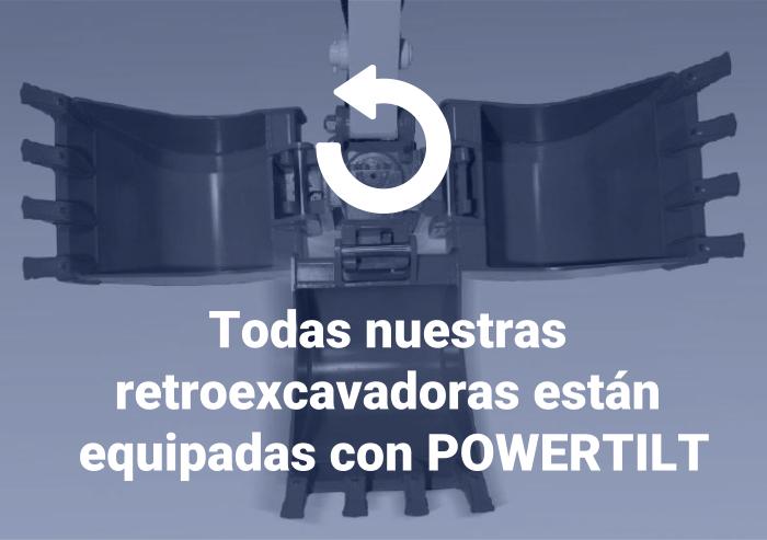 Todas nuestras retroexcavadoras están equipadas con POWERTILT